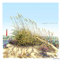 Sea Oats w/ Ponce Inlet Light